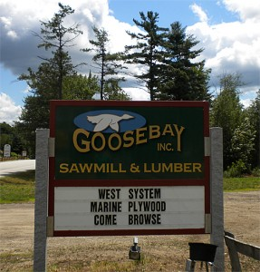 Goosebay SIgn at Goosebay Sawmill & Lumber, Inc. in Chicester, NH