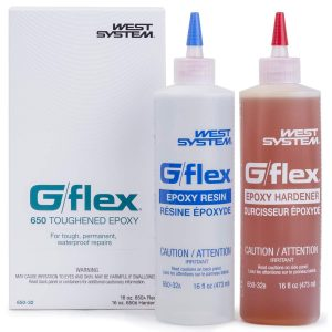 Photo of bottles of West System 650 G-Flex Epoxy Resin and 650 G-Flex Epoxy Hardener