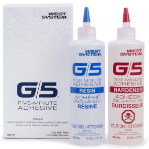Photo of Bottles of West System G5 Five-Minute Adhesive Resin and G5 Five-Minute Hardener