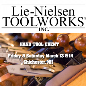 Photo of Lie-Nielsen Logo and hand planes with the words Hand Tool Event March 13-14, 2020