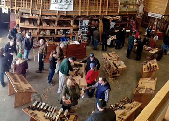 Overview Photo of past Lie-Nielsen Hand Tool Event Held at Goosebay Lumber in Chichester, NH